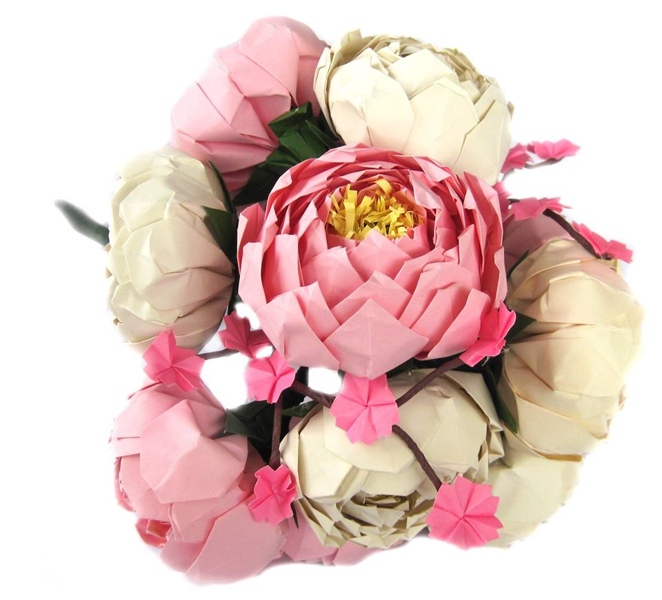 origami peony bouquet with cherry blossoms