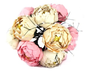 origami peony bouquet with baby's breath
