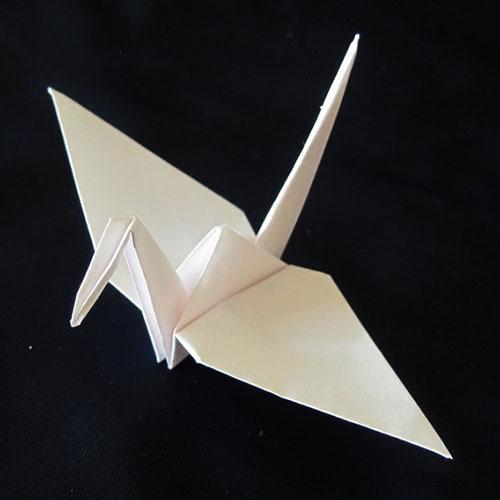 white origami paper crane