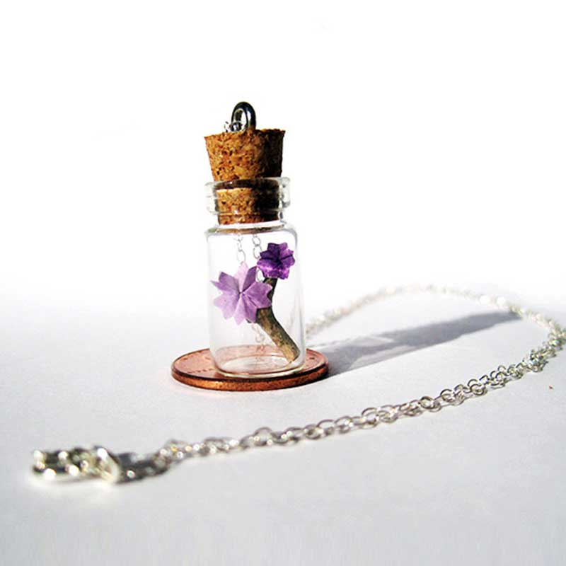 origami cherry blossom in a bottle necklace