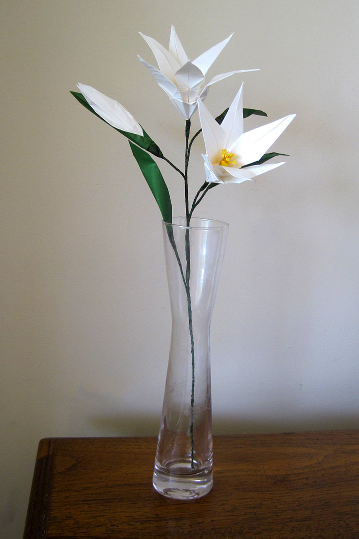 Easter Lily Origami Flower With Flower Bud Graceincrease
