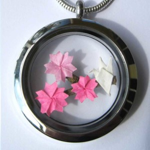 Origami Cherry Blossom Floating Locket Necklace