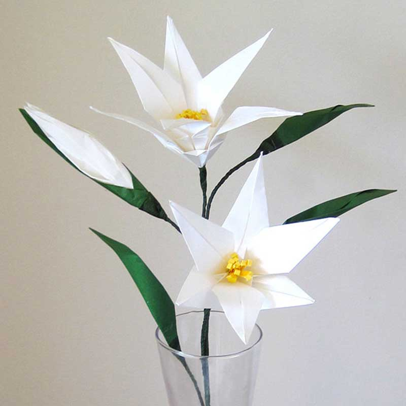 Easter Lily Origami Flower With Flower Bud Graceincrease Custom