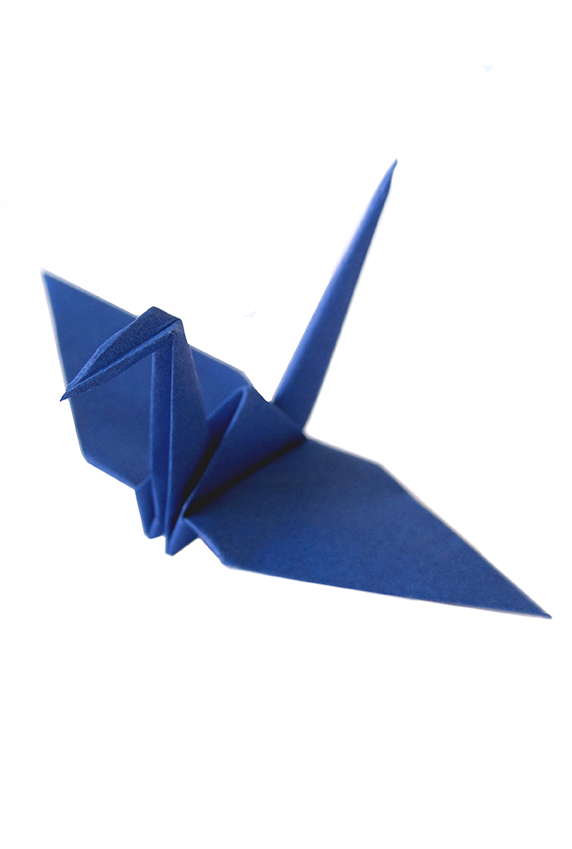 deep blue origami paper crane