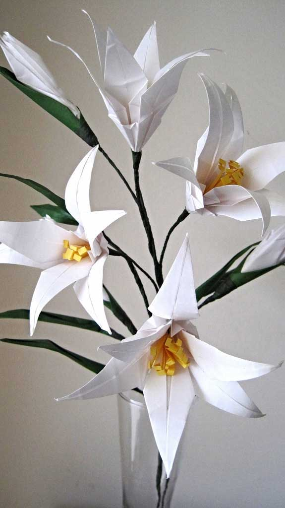 easter lily origami flower bouquet  u2013 graceincrease custom