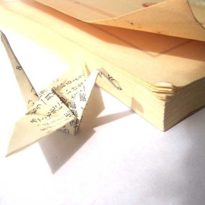 Unique Origami Cranes made from Vintage Japanese Novel Pages