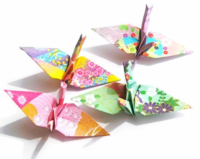 Japanese Crane Origami Birds in Japanese Kimono Patterns