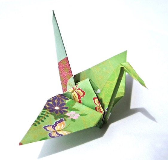 Japanese Paper Cranes in Traditional Kimono Pattern