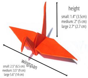 origami crane size
