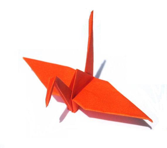 orange origami crane