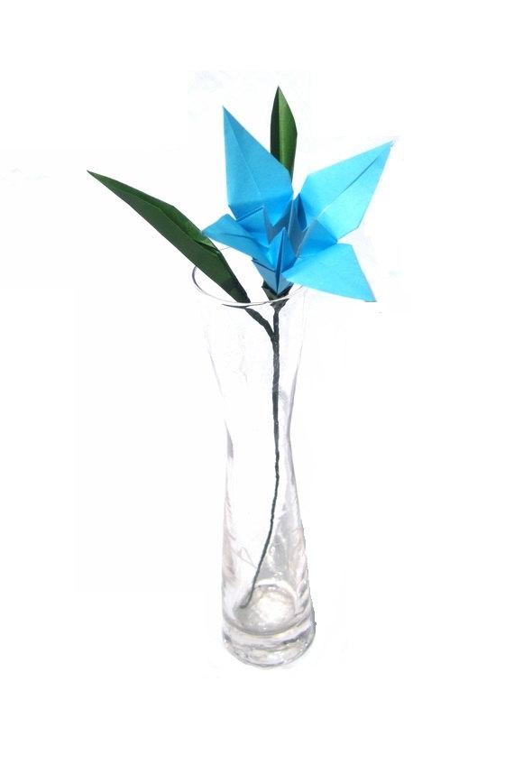 sky blue origami lily