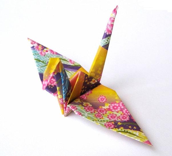 Japanese Crane Origami Birds Purple Kimono Print