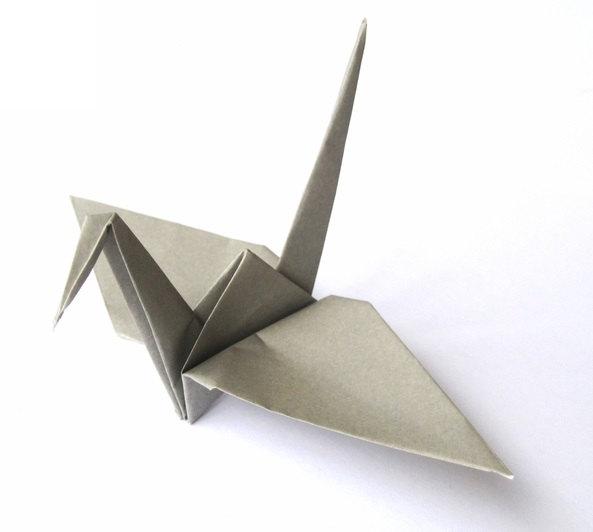 gray origami crane