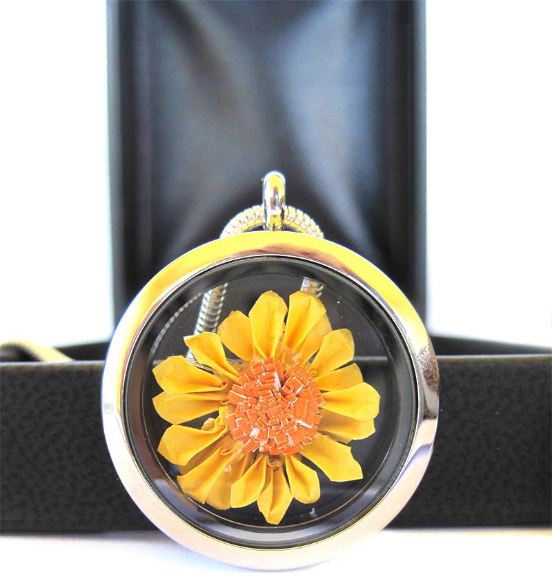 Origami Sunflower Necklace Floating Locket Pendant Graceincrease