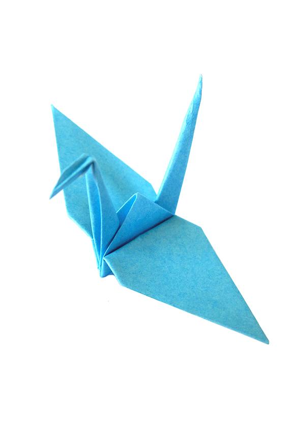 pale blue origami crane
