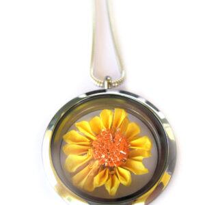 Origami Sunflower Necklace,  Floating Locket Pendant