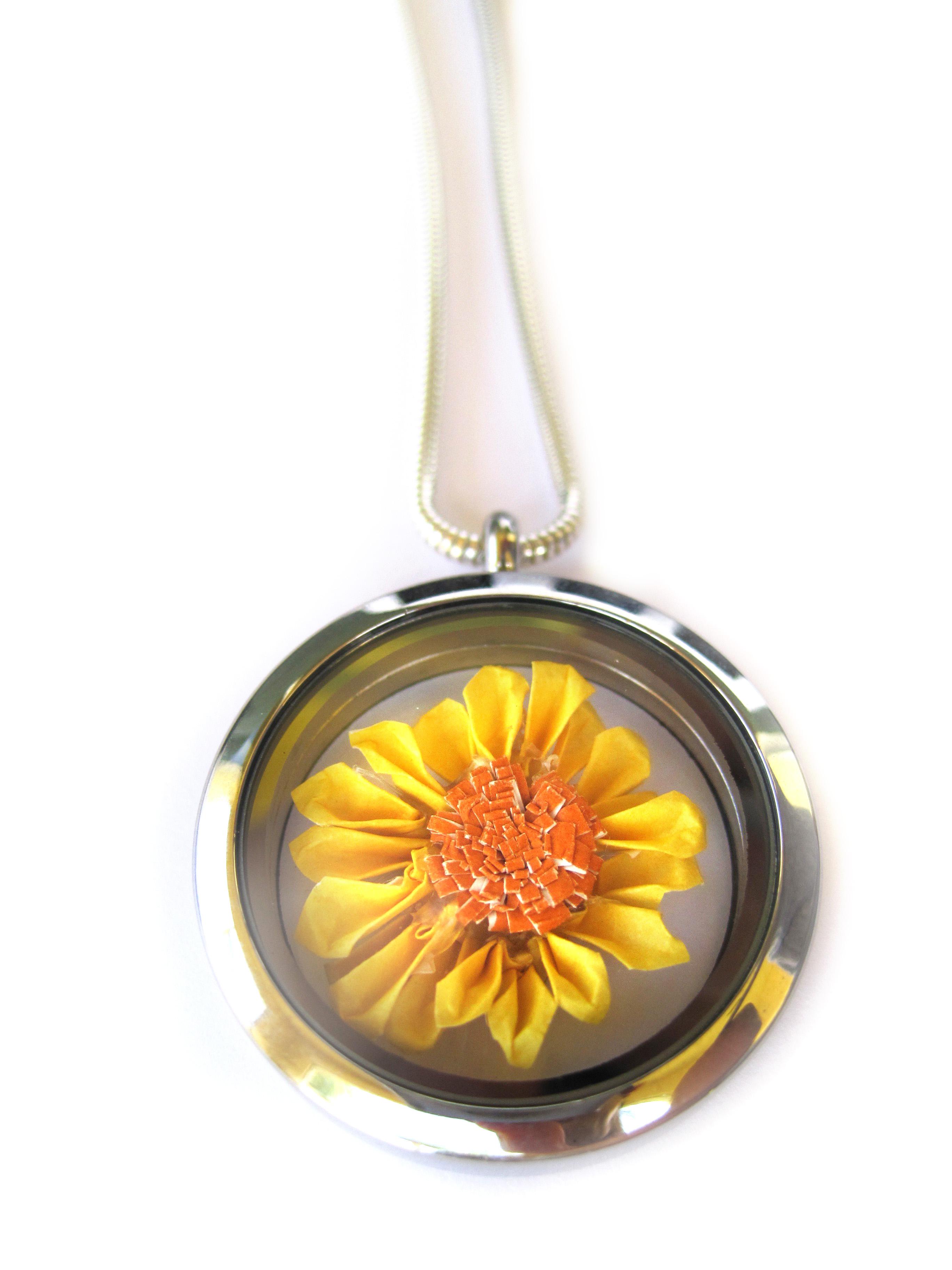 Origami Sunflower Necklace Floating Locket Pendant