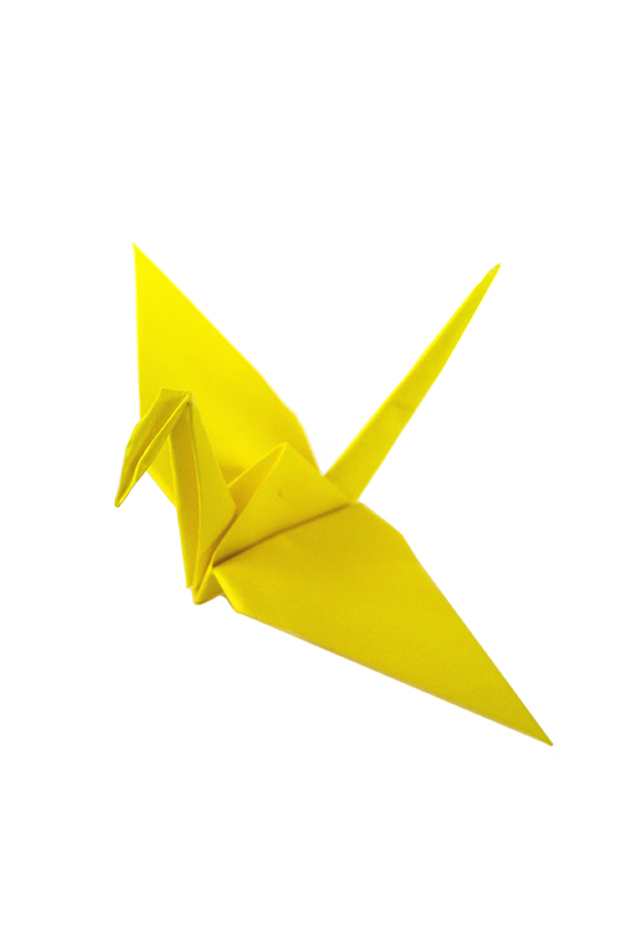 yellow origami paper crane