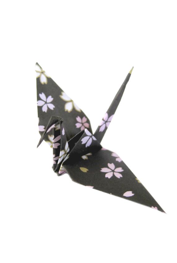 black sakura print crane