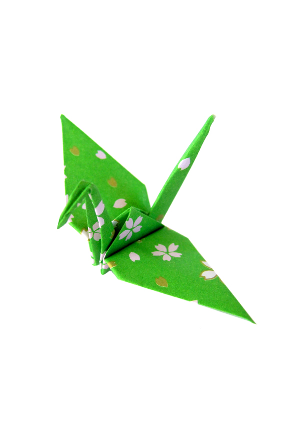 Origami Cranes Japanese Cherry Blossom Pattern In Green