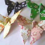 paper butterfly plum and sakura blossom pattern