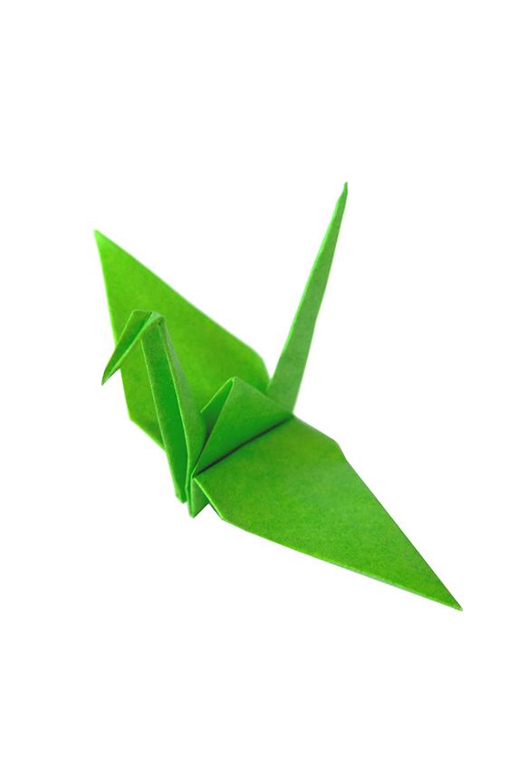 kelly green origami crane