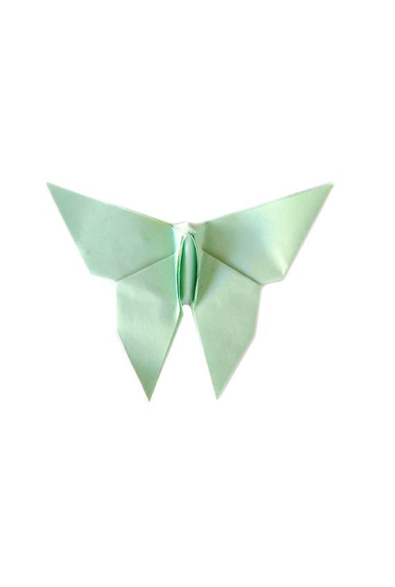 mint origami paper butterfly