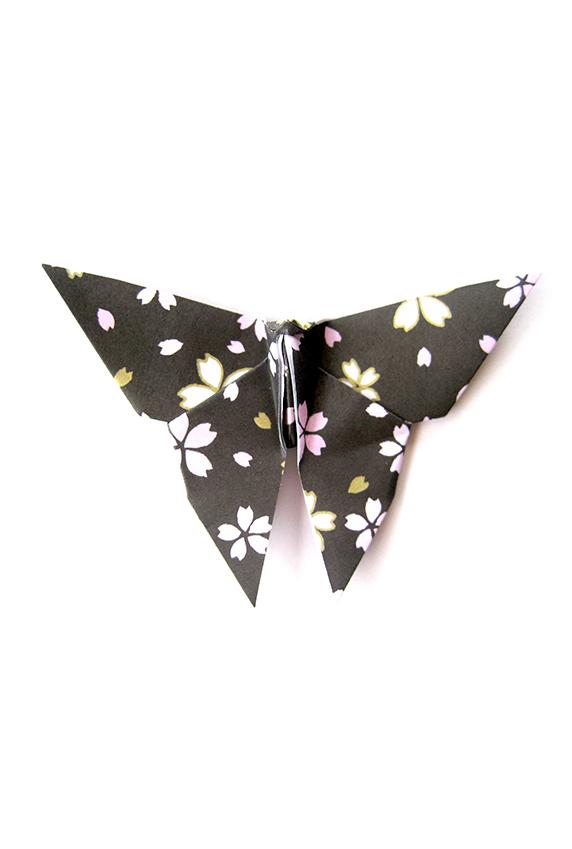 origami butterfly sakura blossom black