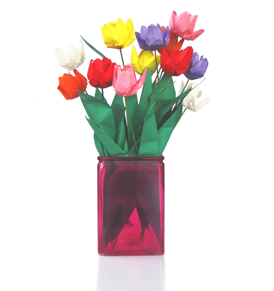 Premium origami tulip bouquet 12 graceincrease custom origami art jeuxipadfo Image collections