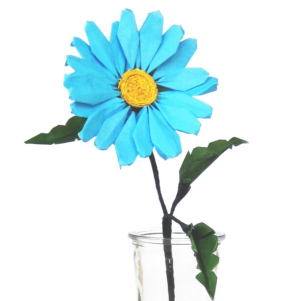 blue origami daisy
