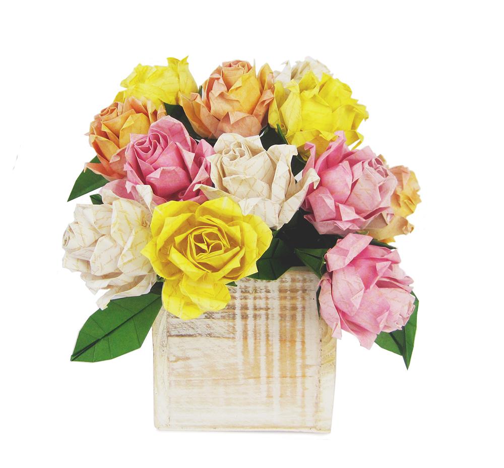 roses in woden vase