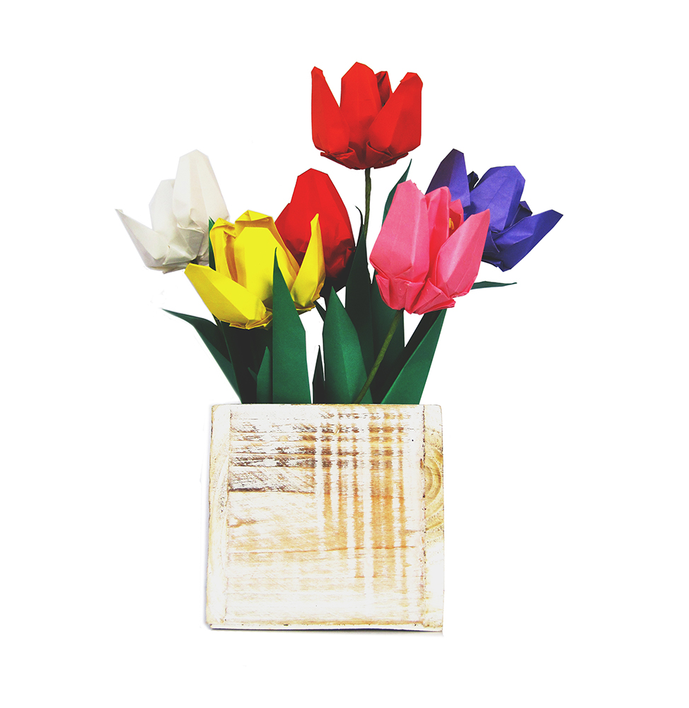 Premium Origami Tulip Gift Set With Wooden Vase Graceincrease