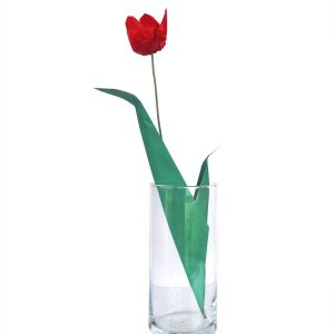 Premium Origami Tulip Gift Set with Wooden Vase